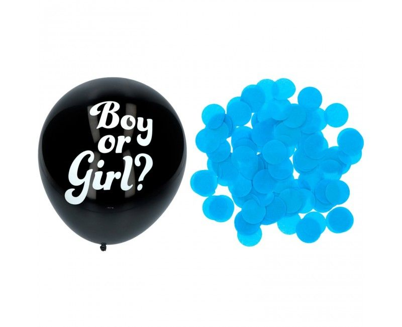 Gender reveal confeti ballon 41cm jongen, 3 stuks