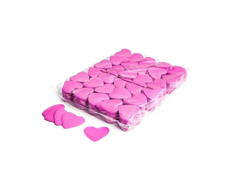 Slowfall hart confetti 55mm roze brandvertragend, 1 kg