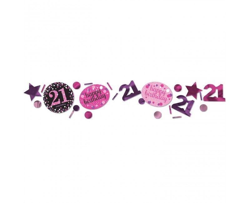 Tafelconfetti sparkling roze Happy Birthday 21 jaar