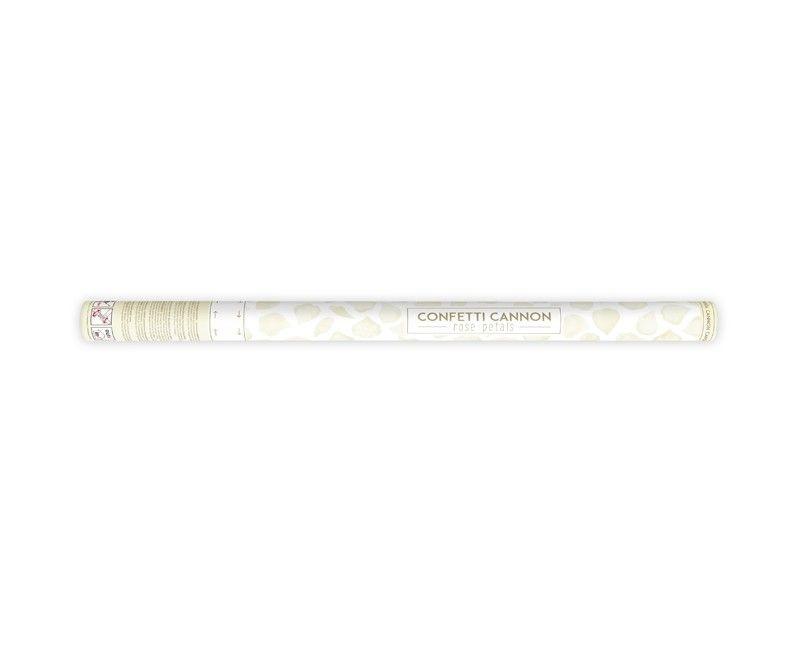 Confetticanon 60cm met crème witte rozenblaadjes