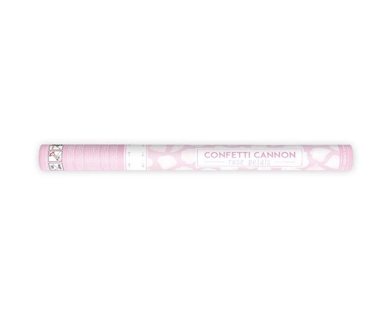 Confetticanon 60 cm witte rozenblaadjes