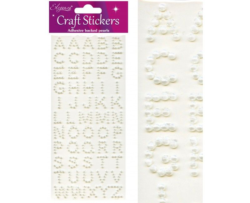 Craft stickers alfabet pearl wit, 14 - 17mm