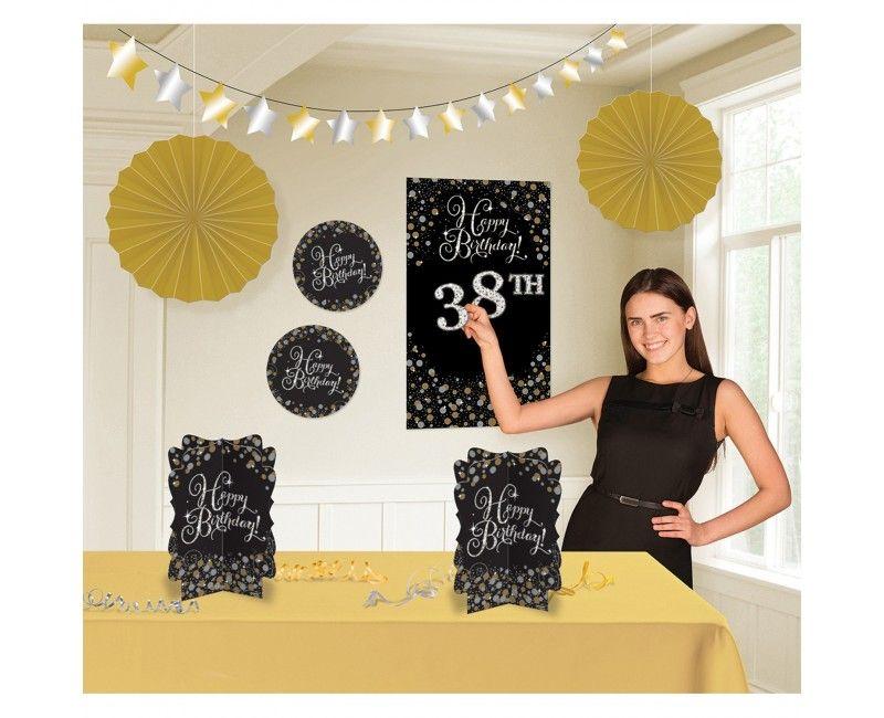 Decoratie set sparkling birthday 8-delig, met leeftijdsstickers