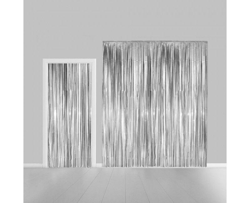 Deurgordijn zilver metallic 100 x 200cm