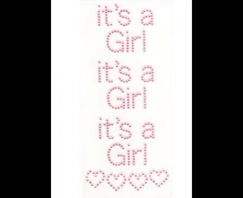 Diamant craft stickers It's a Girl met hartjes, set 3 stuks