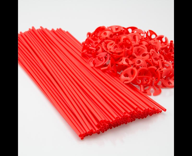 Ballon draagstaafjes met cup rood, 100 stuks