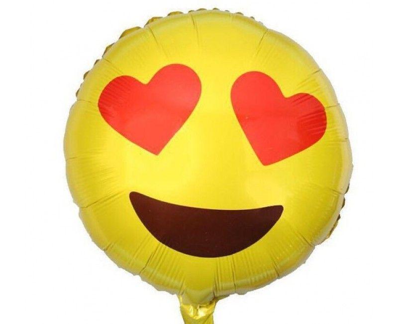 Folieballon 45cm emoticon Verliefd