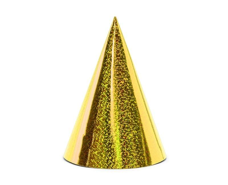 Feesthoedjes holografisch goud, 6 stuks