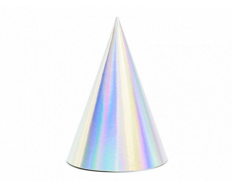 Feesthoedjes iridescent, 6 stuks