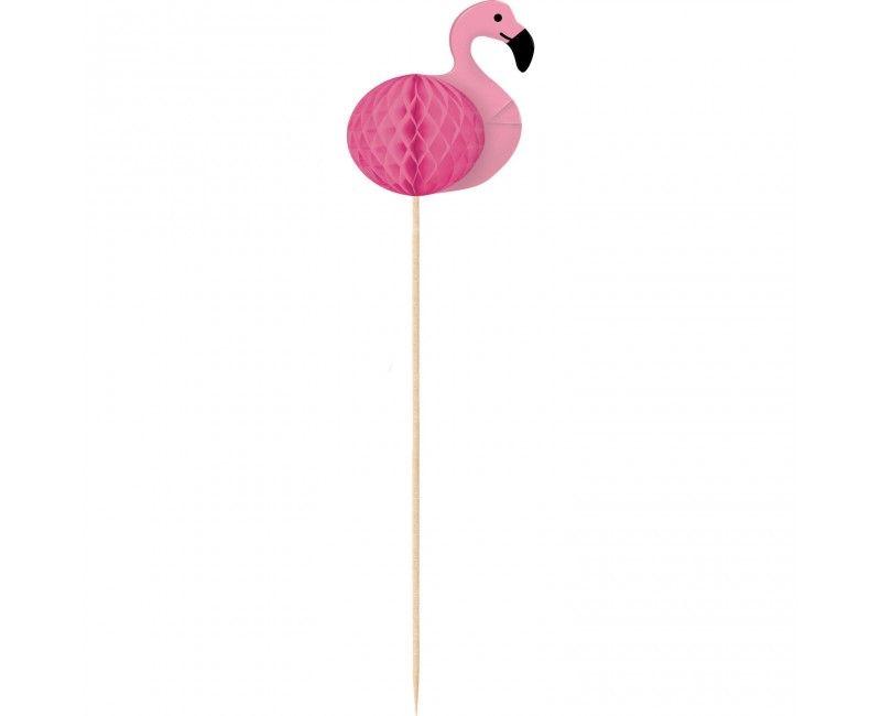 Flamingo prikkers met honeycomb, 10 stuks
