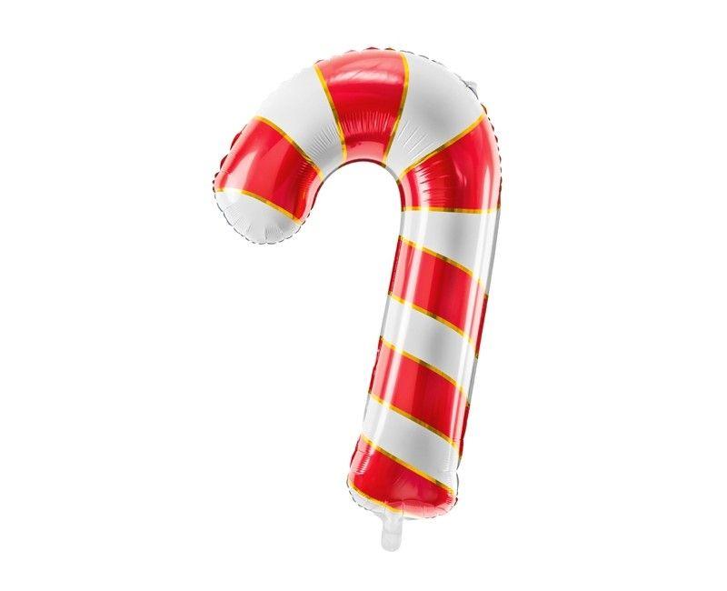 Folieballon 50 x 82cm candy cane rood/wit