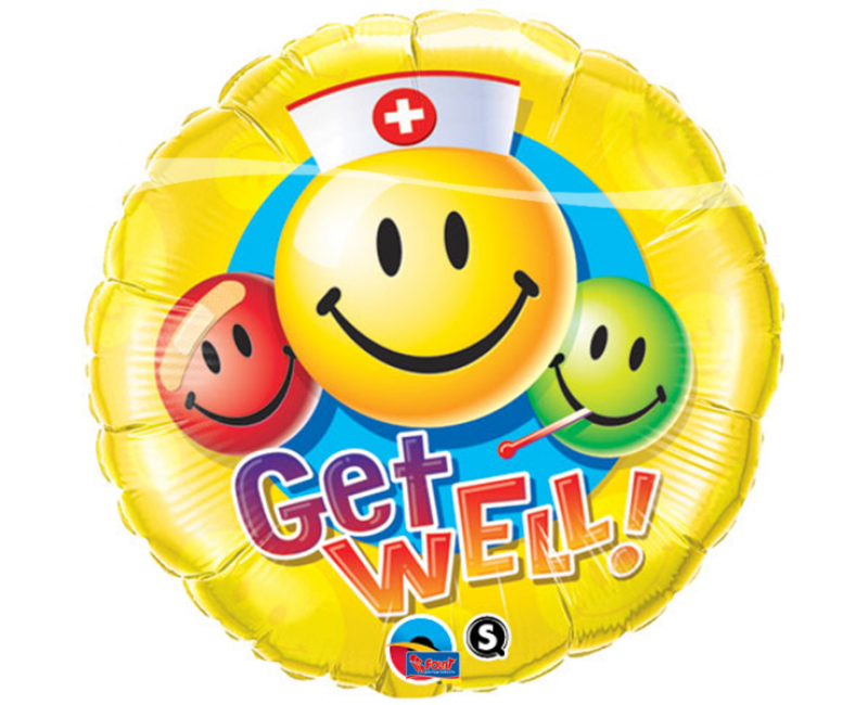 Folieballon Get well Smiley