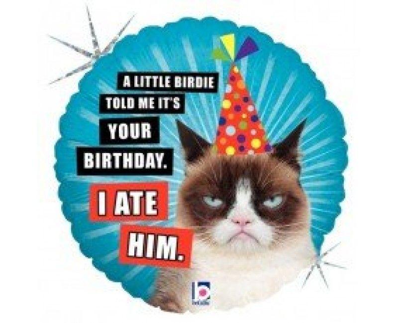 Folieballon 45 cm birthday grumpy cat