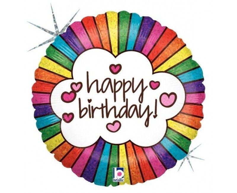 Folieballon 45cm happy birthday regenboog en hartjes