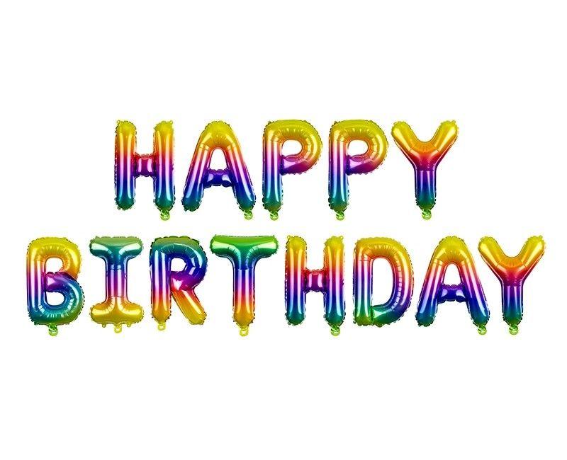 Folieballon letterslinger Happy Birthday regenboog 340 x 35cm