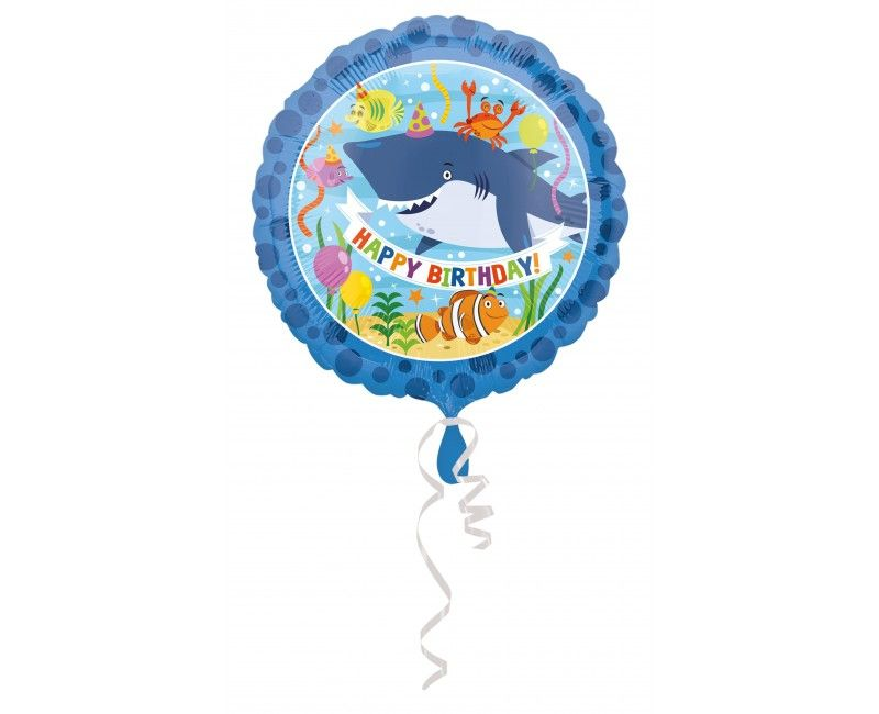 Folieballon 45 cm Happy Birthday haai