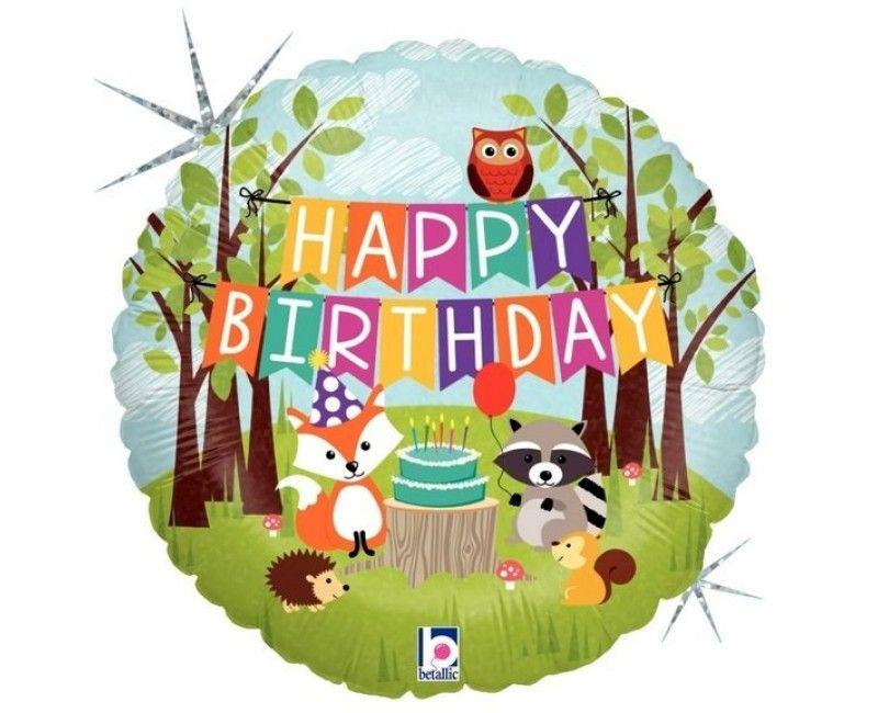 Folieballon 45 cm happy birthday woodland