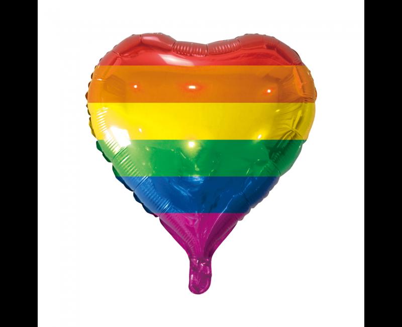 Folieballon 45cm hart regenboog