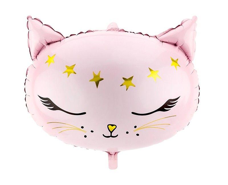 Folieballon roze kat met gouden sterren, 48 x 36cm
