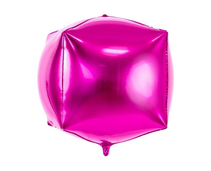 Folieballon kubus 35cm roze, per stuk