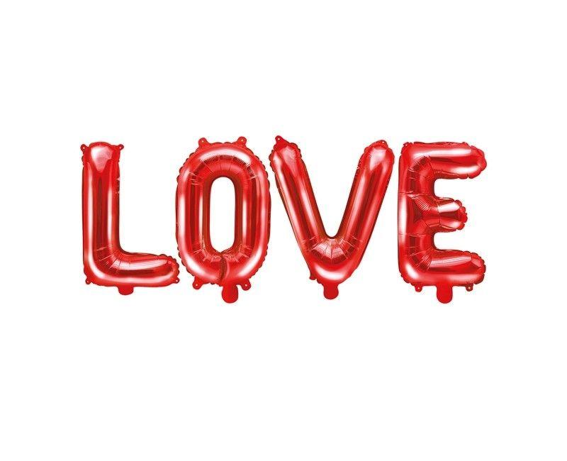 Folieballon letterslinger LOVE rood, 140 x 35cm