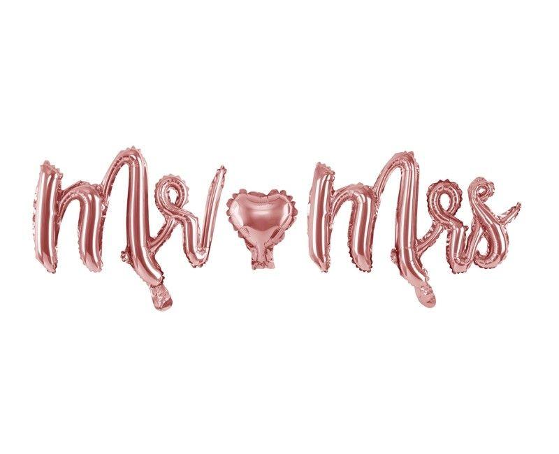 Folieballon letterslinger Mr & Mrs rose gold 150 x 35cm