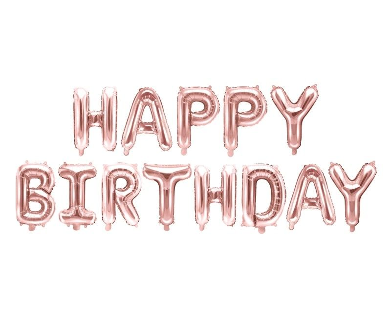 Folieballon letterslinger Happy Birthday rose gold 340 x 35cm