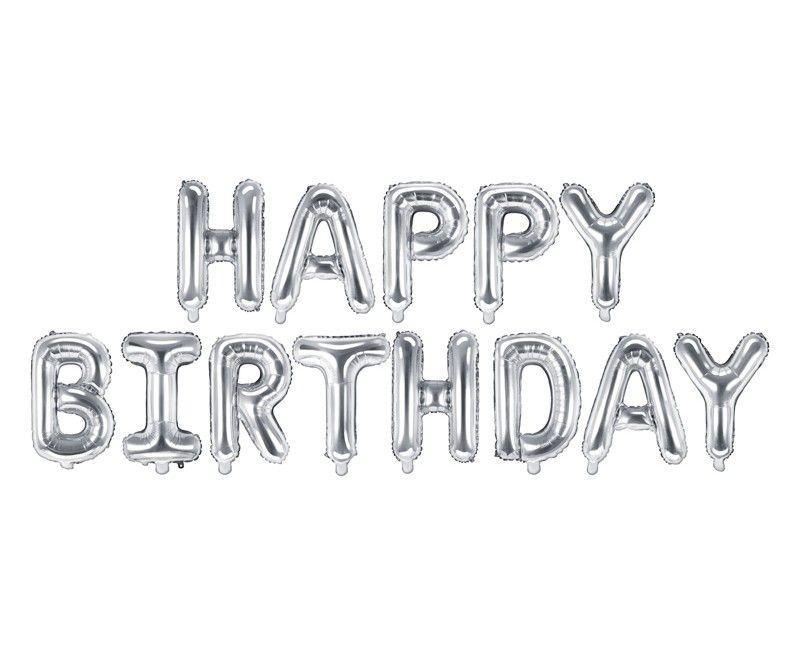 Folieballon letterslinger Happy Birthday Zilver 340 x 35cm