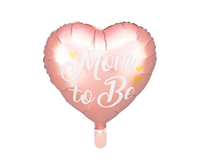 """Folieballon hart """"Mom To Be"""" roze met gouden hartjes"""
