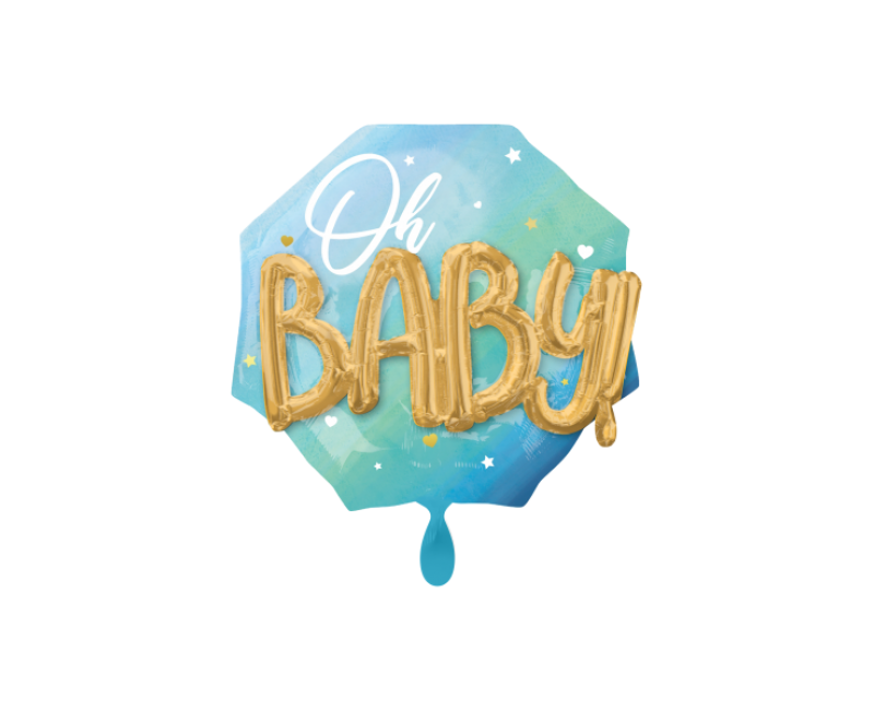 3D folieballon XL Oh Baby! lichtblauw 76cm