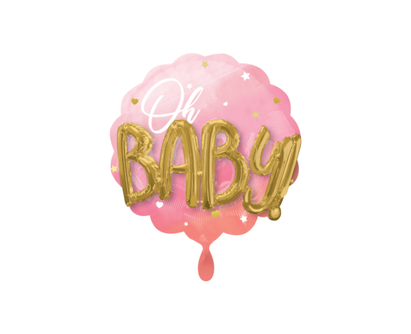 3D folieballon XL Oh Baby! roze 71cm