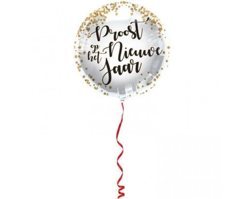Folieballon 45cm Proost op het Nieuwe Jaar confetti