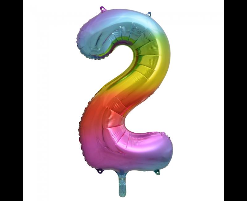 Folieballon 86cm regenboog cijfer 2