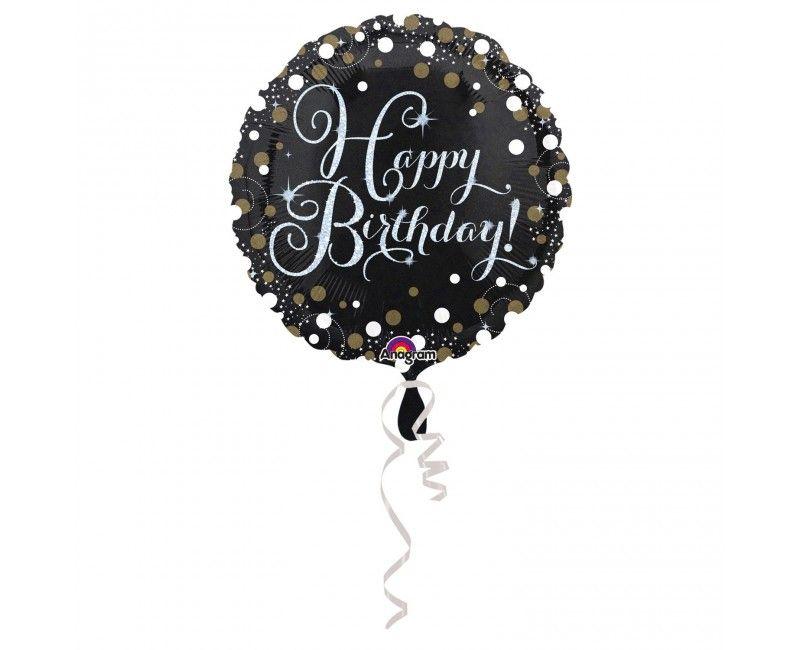 Folieballon sparkling Happy Birthday goud
