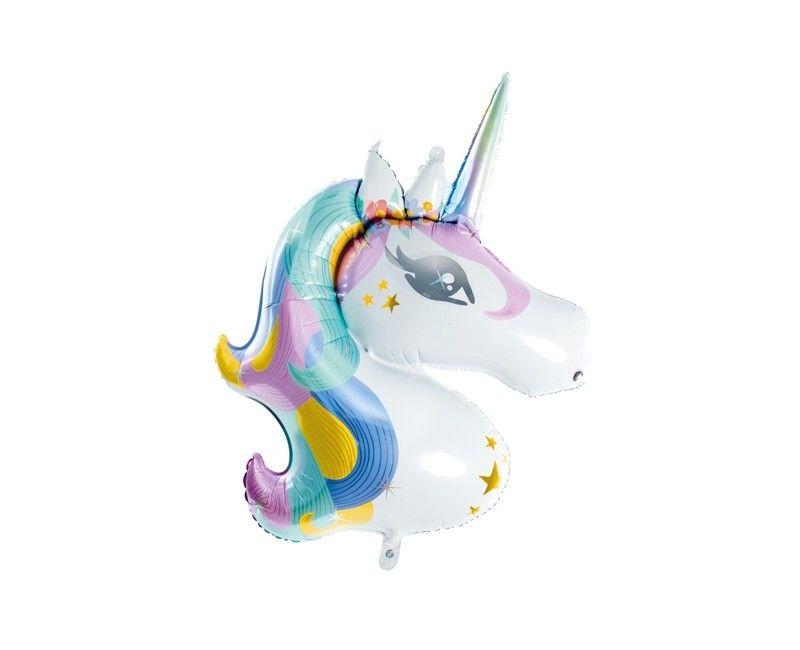 Folieballon unicorn regenboog, afmeting 73 x 90cm