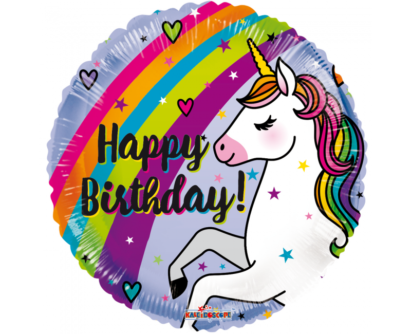 Folieballon 45cm Unicorn Happy Birthday regenboog