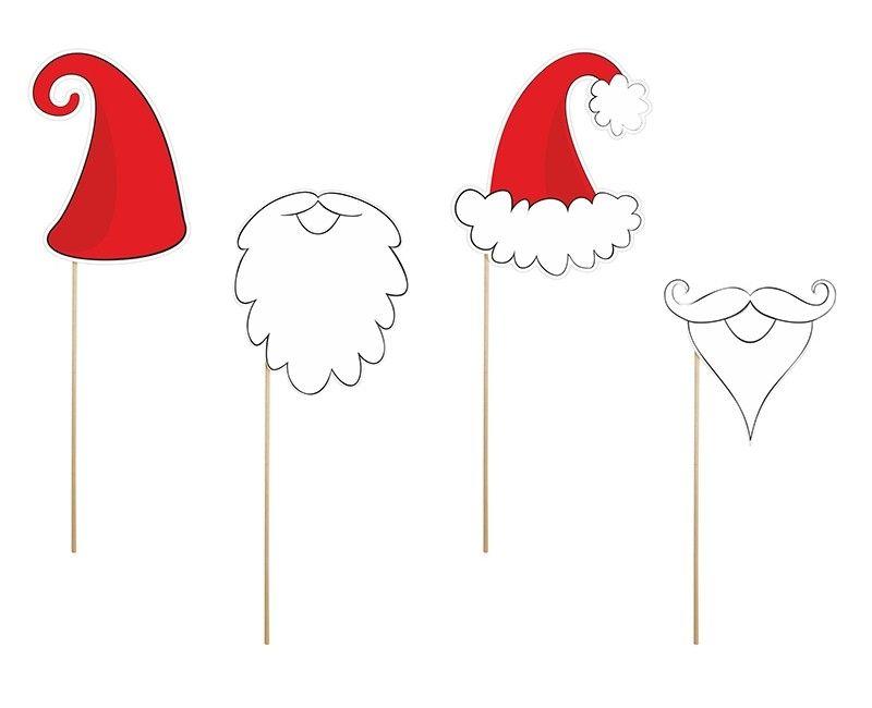 Foto props op stokje kerstman en dwerg 4-delig