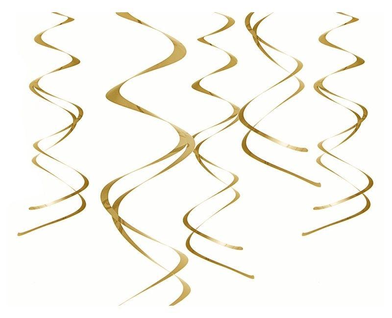 Hangdecoratie spiraal goud, 5 stuks