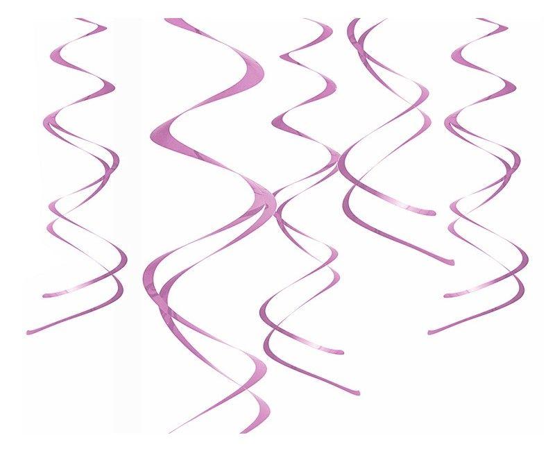 Hangdecoratie spiraal roze, 5 stuks