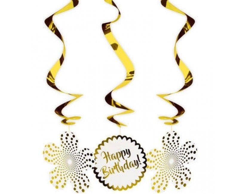 Hangdecoratie Happy Birthday luxury gold