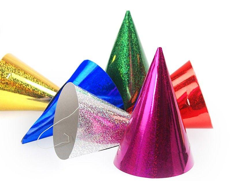 Holografische feesthoedjes mix, 120 stuks