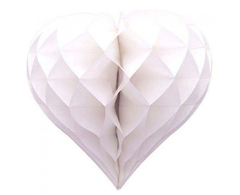 Honeycomb hartvorm wit