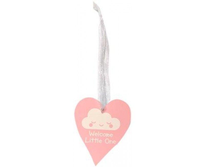 Houten hart lichtroze Welcome Little One, 9 x 11cm