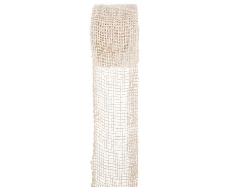 Decoratief jute lint 70mm naturel, lengte 5 meter
