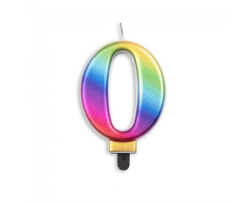 Taartkaars regenboog metallic cijfer 0