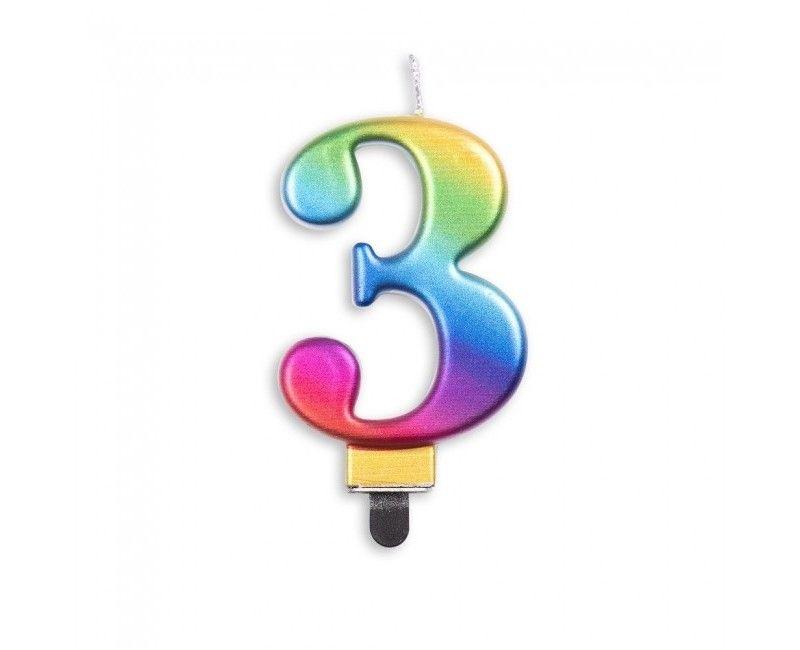 Taartkaars regenboog metallic cijfer 3