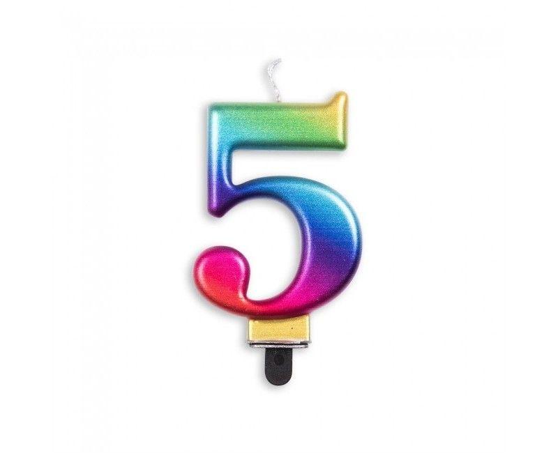 Taartkaars regenboog metallic cijfer 5