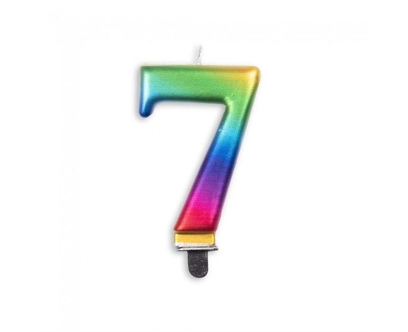 Taartkaars regenboog metallic cijfer 7