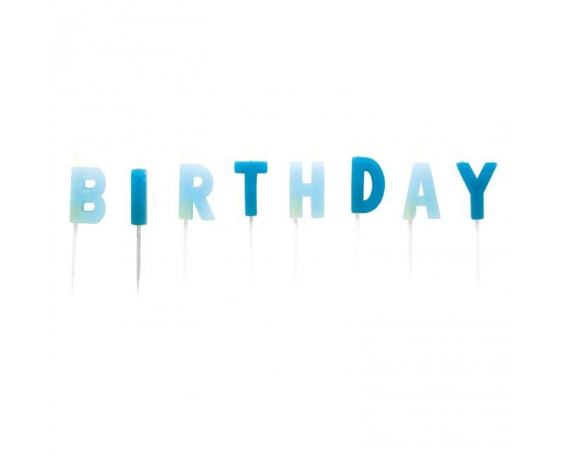 Verjaardag kaarsjes Happy Birthday blauw