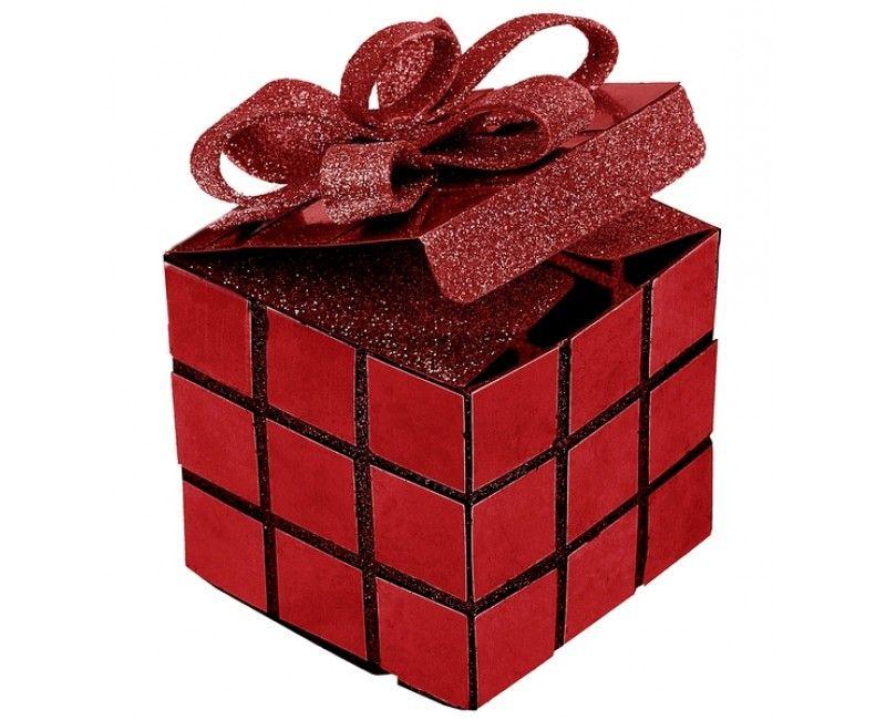 Cadeaudoosje kubus glitter rood met strik, 2 stuks